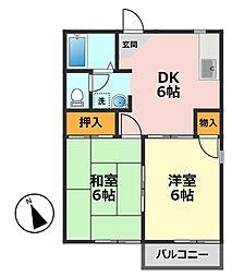 東京都江戸川区北篠崎2丁目の賃貸アパートの間取り