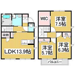 [テラスハウス] 長野県松本市高宮中 の賃貸【/】の間取り