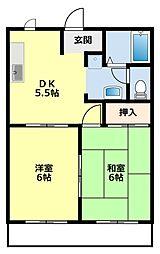 愛知県豊田市若林西町北間の賃貸アパートの間取り