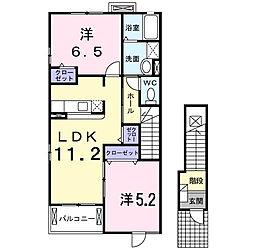 東京都府中市宮町2丁目の賃貸アパートの間取り