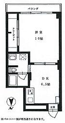 ニュー広尾ハイツ 6階1DKの間取り
