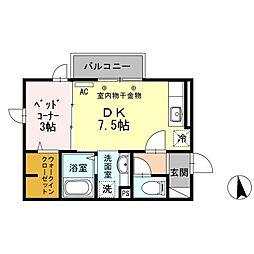 東京都世田谷区祖師谷4丁目の賃貸アパートの間取り