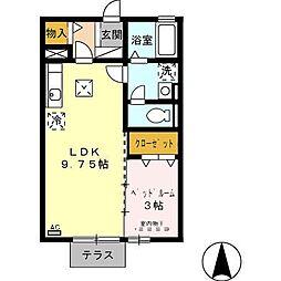 静岡県磐田市豊島の賃貸アパートの間取り