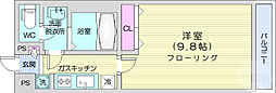 リブリ・K-1宮城野 3階1Kの間取り