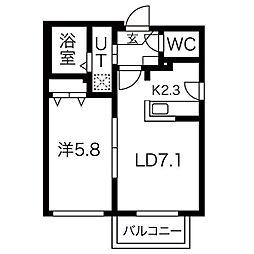 札幌市営南北線 幌平橋駅 徒歩21分の賃貸アパート 2階1LDKの間取り
