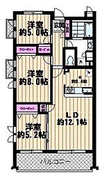 埼玉県さいたま市南区白幡2丁目の賃貸マンションの間取り