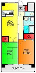 サンシャイン田中 5階2LDKの間取り