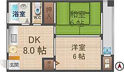 東京都中野区丸山1丁目の賃貸マンションの間取り