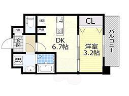 SOAR SHINNAGATA 3階1DKの間取り