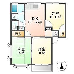 フローラル東和田 B[202号室]の間取り