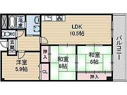 フローエンス吉田2[1階]の間取り