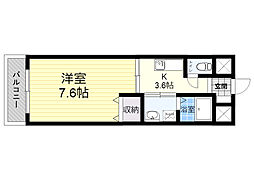 トレステーラシャングリラ 2階1Kの間取り