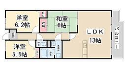 セレーノ花屋敷[107号室]の間取り