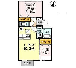 福岡県北九州市八幡西区馬場山緑の賃貸アパートの間取り