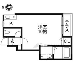 京都地下鉄東西線 太秦天神川駅 徒歩7分の賃貸テラスハウス 1階1Kの間取り