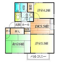 フラッツ誉田II[1階]の間取り
