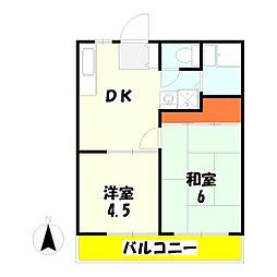 パナハイツ杉No.1[1階]の間取り