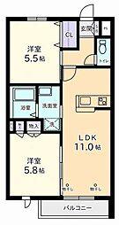 東京都府中市是政1丁目の賃貸マンションの間取り