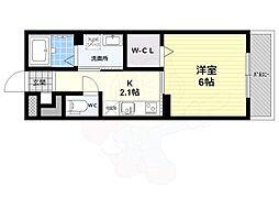 仮 大藤産業株式会社アパート 3階ワンルームの間取り