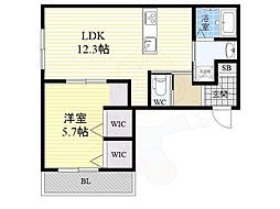 阪急神戸本線 王子公園駅 徒歩2分の賃貸アパート 4階1LDKの間取り