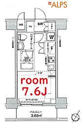 京急本線 戸部駅 徒歩8分の賃貸マンション 2階ワンルームの間取り