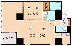 JR鹿児島本線 香椎駅 徒歩3分の賃貸マンション 6階1LDKの間取り