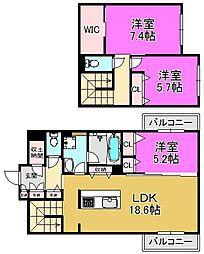 Feliseed 三国ヶ丘[3階]の間取り