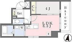 JR香椎線 香椎駅 徒歩3分の賃貸マンション 6階1LDKの間取り
