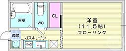 仙台市地下鉄東西線 川内駅 徒歩15分の賃貸アパート 1階ワンルームの間取り
