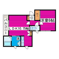JR学園都市線 石狩当別駅 徒歩10分の賃貸アパート 1階1LDKの間取り