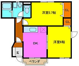 大阪府東大阪市菱江1丁目の賃貸アパートの間取り