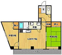 兵庫県神戸市兵庫区熊野町4丁目の賃貸マンションの間取り