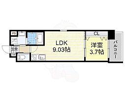 おおさか東線 南吹田駅 徒歩7分の賃貸マンション 4階1LDKの間取り