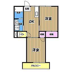 東京都青梅市長淵7丁目の賃貸アパートの間取り