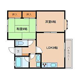 静岡県静岡市清水区船越3丁目の賃貸アパートの間取り
