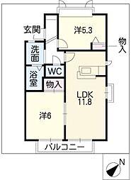 グリーンハウスMATSUBAC棟[2階]の間取り