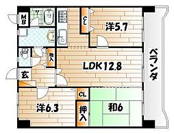 ライオンズマンション城野駅前[9階]の間取り
