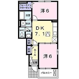 神奈川県海老名市中野の賃貸アパートの間取り