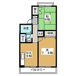 セジュールアルカディア B棟[2階]の間取り