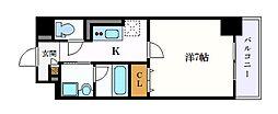 名古屋市営鶴舞線 浄心駅 徒歩12分の賃貸マンション 2階1Kの間取り