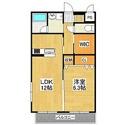 茨城県つくば市みどりの中央の賃貸マンションの間取り