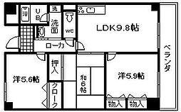 セーヌ東岸和田[202号室]の間取り