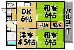福岡県福岡市東区松崎2丁目の賃貸アパートの間取り