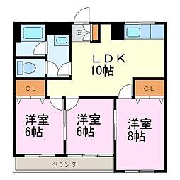 竹廣マンション[202号室]の間取り