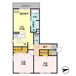 千葉県柏市大室1丁目の賃貸アパートの間取り
