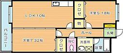 カントリー祇園[3階]の間取り