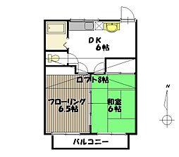 宮城県仙台市青葉区北根3丁目の賃貸アパートの間取り