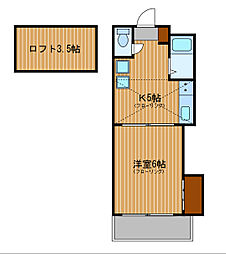 神奈川県横浜市神奈川区片倉2丁目の賃貸アパートの間取り