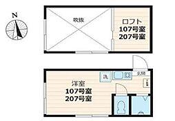 スタジオアパートメント大久保[107号室号室]の間取り