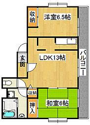 麻亜呂コーポ[1階]の間取り